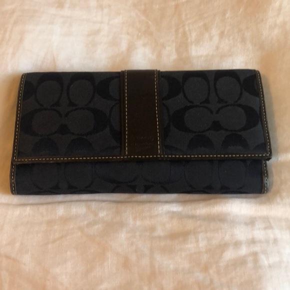 Coach Handbags - Navy & Brown Leather Coach Wallet